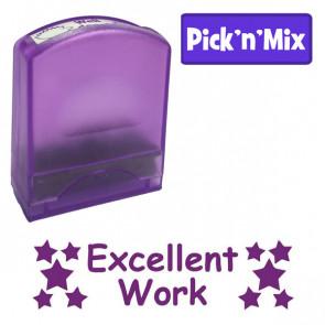 School Stamps | Purple ink, stars design, Excellent work, teacher praise self-inking stamp.