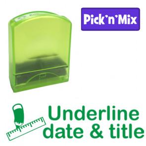 School stamps | Underline date & title, Green Ink Teacher Stamp