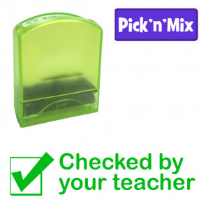 Teacher Stamps | Checked by your teacher. Green Ink School Stamp