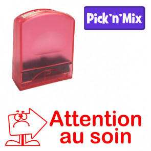 Teacher Stamps | Attention au soin. Self-inking. Reinkable Value Range