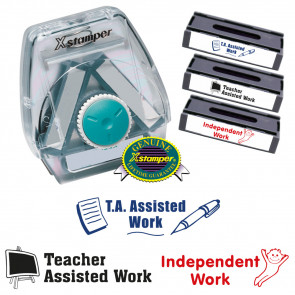 School Stamps | Xstamper 3-in-1 Teacher Marking Stamp Set: TA Assisted, Teacher Assisted, Independent Work
