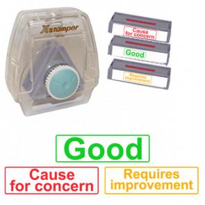 Xstamper 3-in-1 Stamp Set: Good / Requires improvement / Cause for concern.