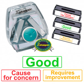 Xstamper 3-in-1 Stamp Set: Good / Requires improvement / Cause for concern.