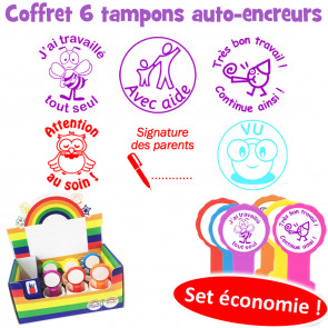 School Stamps   6 French Marking Self-Inking Teacher Stamp Box Set