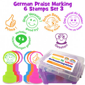 School Stamps | 6 German Bilingual Teacher Stamps Marking Set Box Set