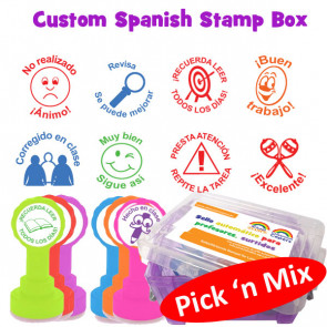School Stamps | Custom Selection Teacher Stamp Box - Spanish Pick n' Mix Marking Messages