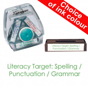 School Stamps | Literacy Target: Spelling / Punctuation / Grammar Xstamper 3-in-1 Twist Stamp.
