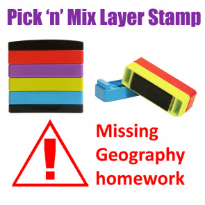 Teacher Stamps | Missing Geography homework Pick'n'Mix Stakz Layer Multi Stamp