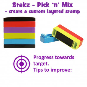 Teacher Stamps | Progress towards target. Tips to improve: Pick'n'Mix Stakz Layered Multistamp