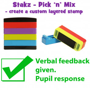 Teacher Stamps | Verbal feedback given. Pupil response Pick'n'Mix Stakz Layered Multistamp