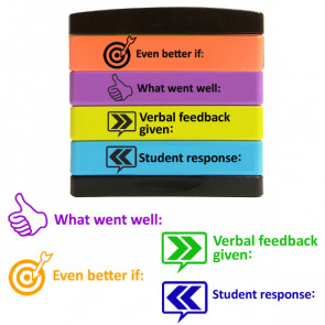School Stamp | Verbal feedback given, Student response, WWW, EBI Teacher Stamp