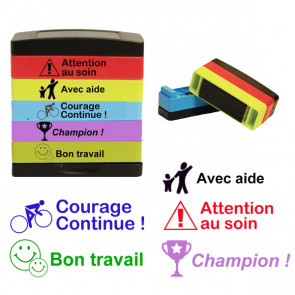 School Stamps | French language multi-stamp - Courage Continue, Avec aide, Attention au Soin, Bon Travail, Champion