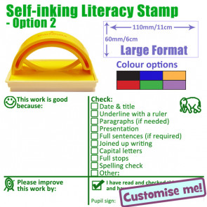 Teacher Stamper | Key Stage 2 & 3 Literacy Feedback with Checklist Targets Comprehensive Marking Stamp - Select ink colour
