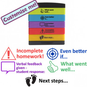 Teacher Stamp | What went well, Even better if, Verbal feedback/student response, Incomplete homework, Next step..Teacher Multistamp