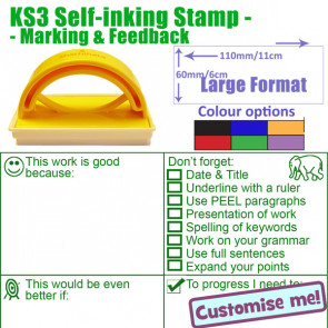 Large Teacher Stamper | KS3 Feedback, Marking & Literacy Checklist Teacher Stamp