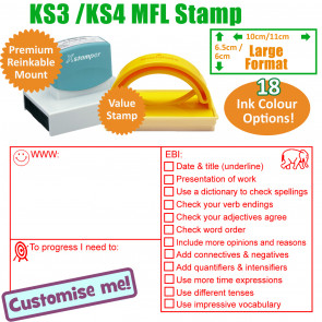 Teacher Stamps | MFL WWW, EBI Marking Stamp KS3 / 4 - Large Teacher Stamp