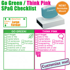 Teacher Stamp | Large Go Green / Think Pink Spag / KS 1 Literacy Checklist and Feedback