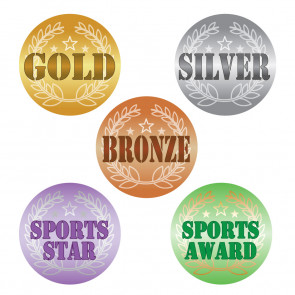 Sports Stickers | GOLD, SILVER, BRONZE, SPORTS STAR / AWARD Foil Stickers