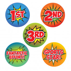 Sports Stickers | 1st, 2nd, 3rd, Fantastic Effort, Sports Star Comic Pop Art Stickers