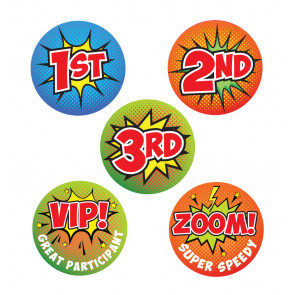 Sports Stickers | 1st, 2nd, 3rd, VIP!, Zoom! Comic Pop Art Sports Day Stickers