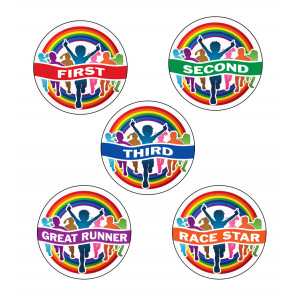 Sports Stickers | Rainbow Runners First, Second, Third, Race Star, Great Runner Sports Stickers