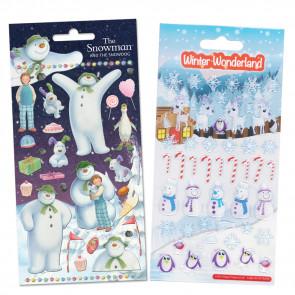 Premium Kids Stickers | The Snowman, The Snowdog & Winter Wonderland -  2 Pack Stickers Set