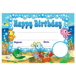 Personalised Certificates & Awards for Schools | Under the Sea Happy Birthday Certificate - School logo custom option