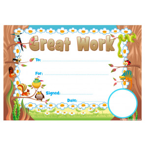 School Certificates | Great Work School Certificate. School Logo Custom Option