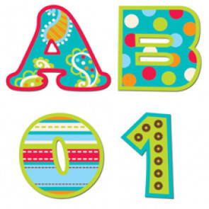 Stick-On Uppercase Letters | Dots on Turquoise School Stickers