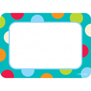 Name Label Badges / Stickers | Dots on Turquoise Design Badge