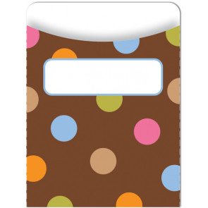 Classroom Organisation Resources   Library Pockets - Dots on Chocolate