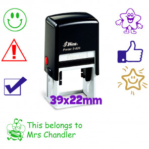 Custom School Stamps | Personalised Stamper - 22x39mm Rectangle.Shiny S-826