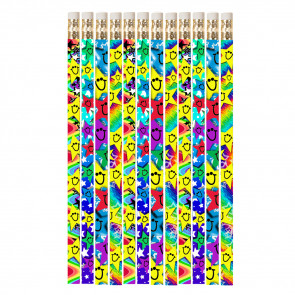 Pencils for Kids | 12 x Big Grin, Smiley Star Pencils.