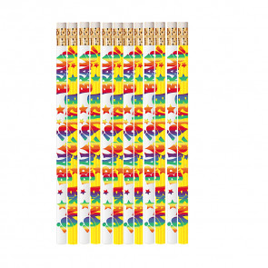 Pencils for Kids | 12 x Colourful 'Bravo' Reward Pencils