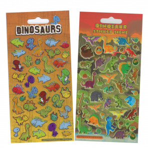 Premium Kids Stickers | Dinosaur Stickers - Kidscraft Puffy & Glitter  -  2 Pack Stickers Set