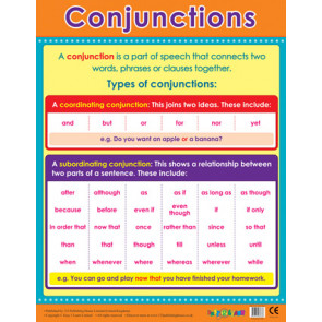 School Posters   Conjunctions Literacy Reference Wall Charts
