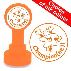 Teacher Stamp | Champion ! Fun Star Orange Ink.