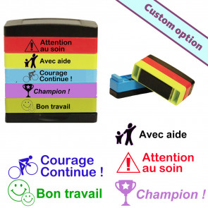 French Teacher Stamps | Courage.., Avec aide, Champion, Bon Travail, Attention au soin