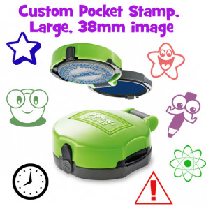 Teacher Stamp | Pocket Sized, Large Round Self-Inking Stamper