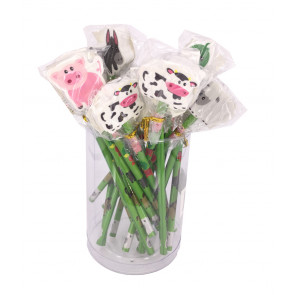 Class Gift / Pupil Presents | 24 x Farm Friends Pencils with Large Eraser Ends