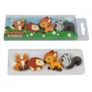 Animal Erasers | Fox, Hedgehog, Squirrel, Deer - 4 Eraser Presentation Pack