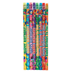 Teacher Class Gifts | Pack of 144 Colourful Happy Birthday Pencils