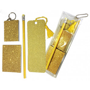 Low Cost Gifts | Gold Glitter Stationery Gift Set: Sparkle Bookmark, Keyring Notepad, Memo and Pencil