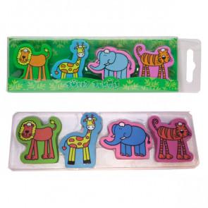 Animal Erasers   Tiger, Lion, Elephant, Lion - 4 Eraser Presentation Pack