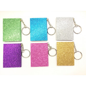 Stationery Gift | Sparkling Glitter Keyring Notepads - Set of 6.