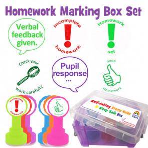 School Stamps | Homework Stamp Set, Verbal Feedback, Pupil response  - 6 stamper set