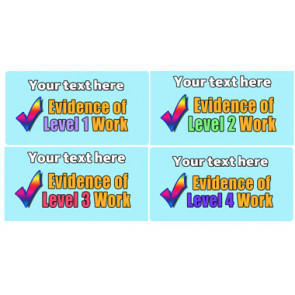 Personalised School Stickers | Evidence Levels 1 to 4! Design Custom Standard Stickers