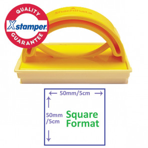 Custom Stamp | Sqaure Format Self-inking Stamp for Schools or Office - Side  View