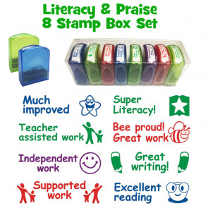 Teacher Stamps | Literacy and Praise Self-inking Stamp Tray Set