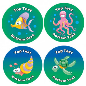 Personalised School Stickers | Under the Sea Creature! Design Custom Standard and Scented Stickers